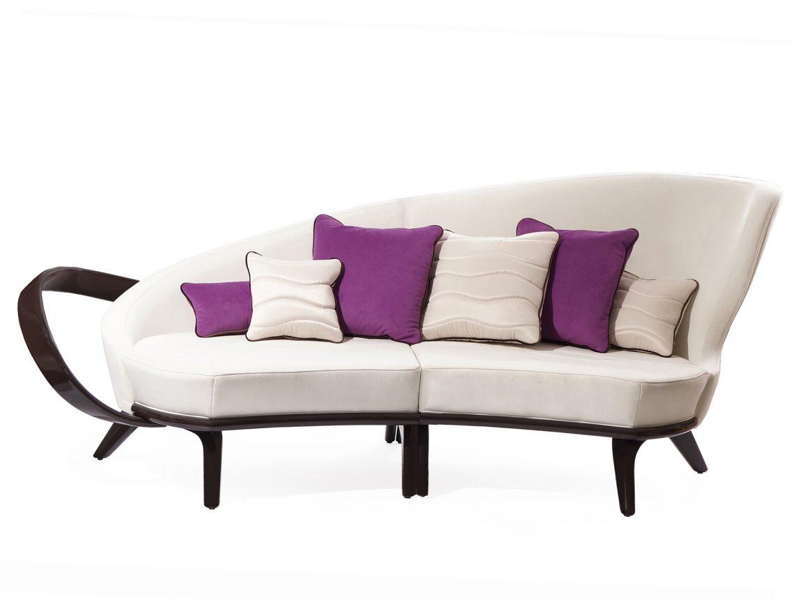Полукруглый диван с подлокотниками из массива