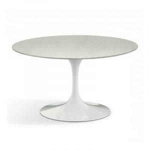 Белоснежный глянцевый кофейный стол на 1 ножке из акрилового камня