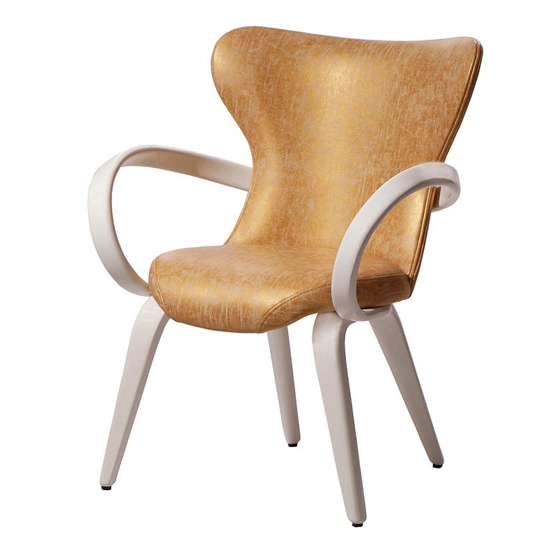 Золотой стул с подлокотниками