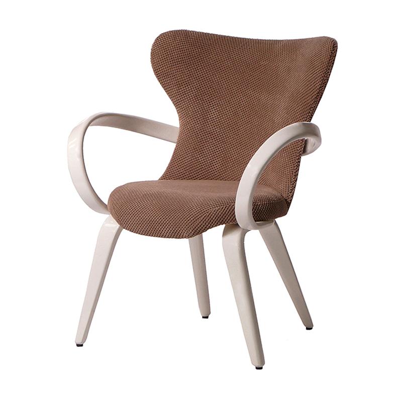 Авторский бежевый стул с подлокотниками