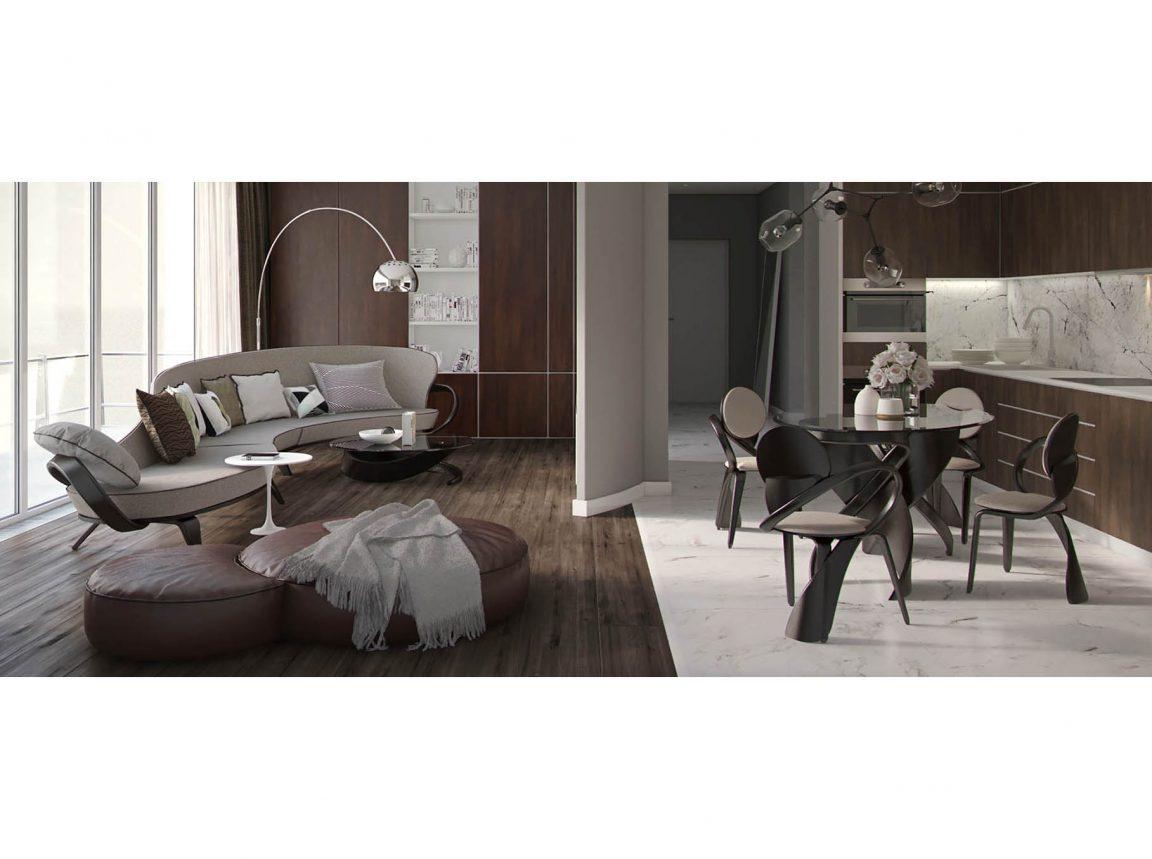 закругленный диван в современном интерьере