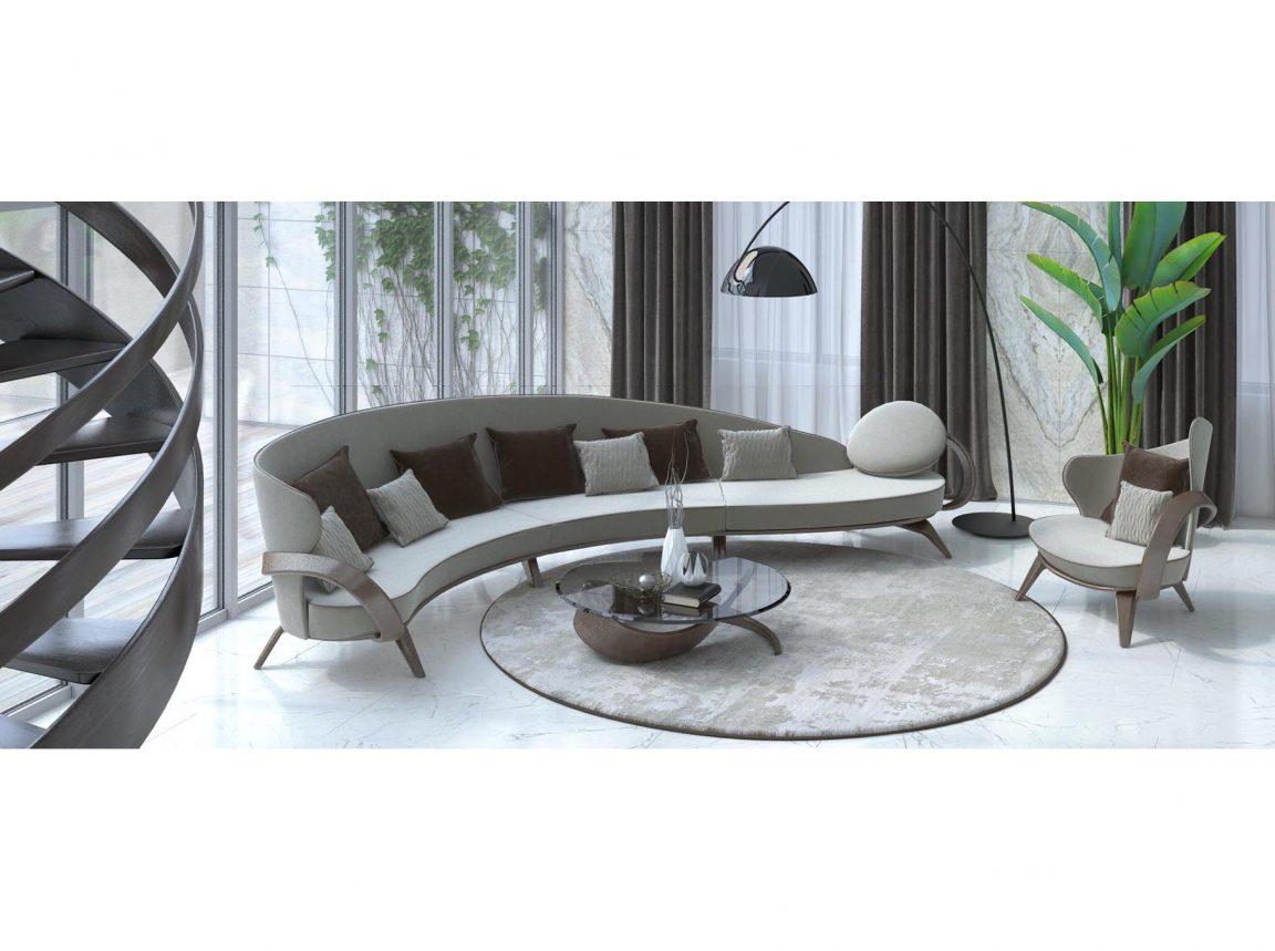 радиусный диван в просторной гостиной