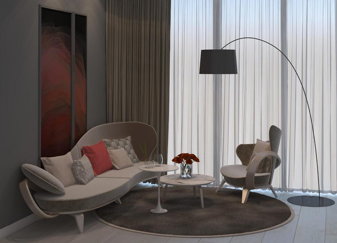 необычный диван в светлых тонах