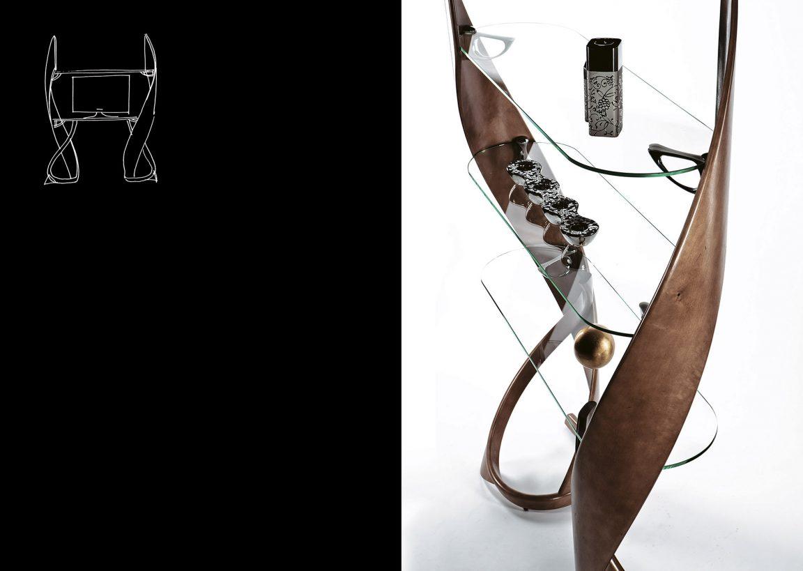 Интерьерная подставка с полками из стекла