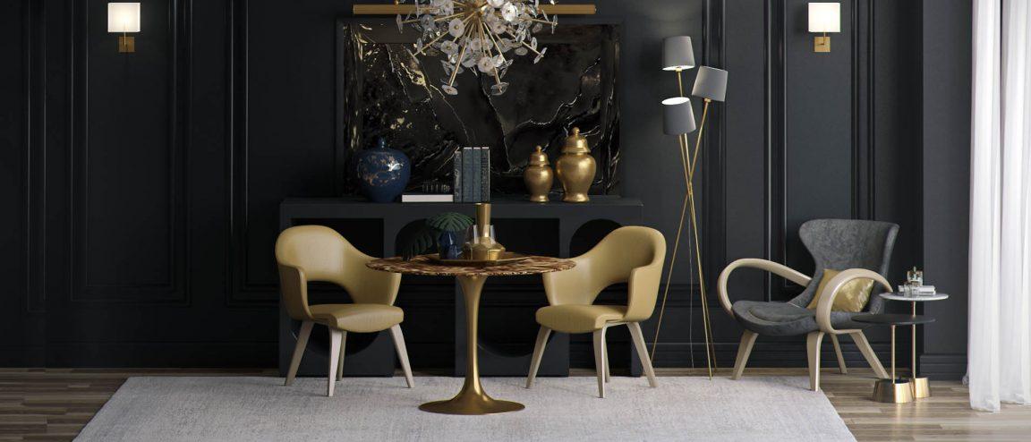 Изысканный круглой стол золотой