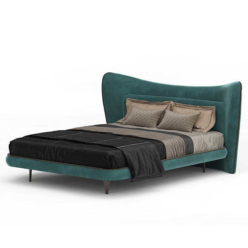 Стильная бирюзовая кровать двуспальная