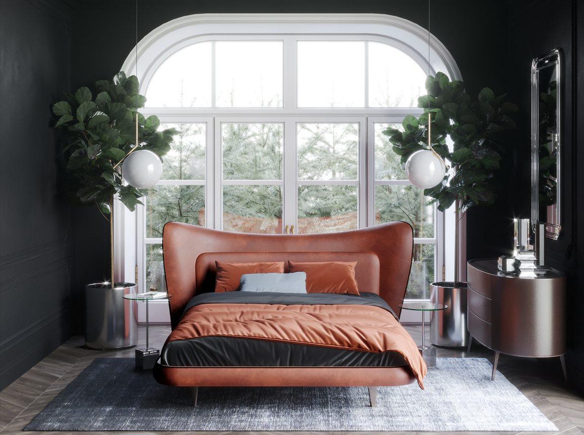 яркая необычная кровать оранжевая