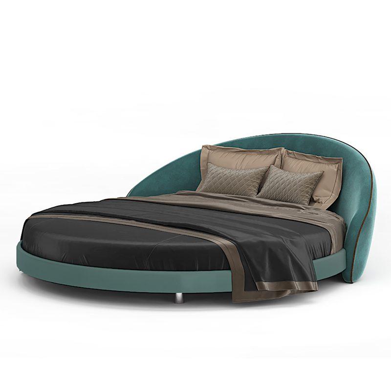 Большая круглая кровать бирюзовая