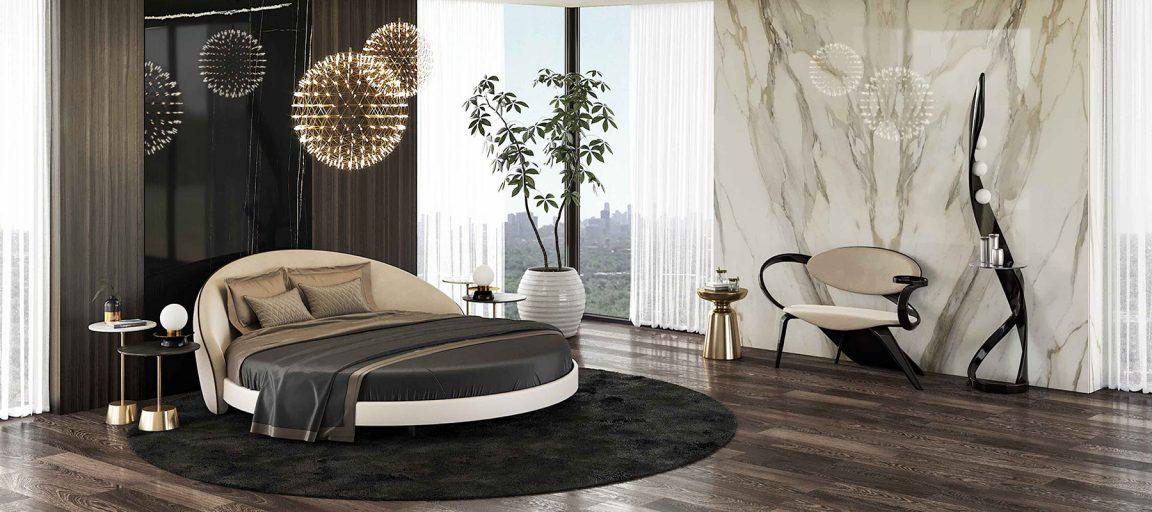 Элегантная большая кровать круглая