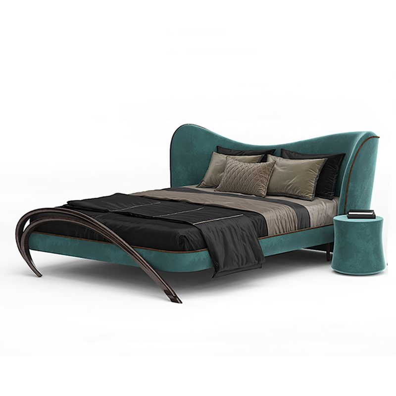 Комфортная двуспальная кровать бирюзовая