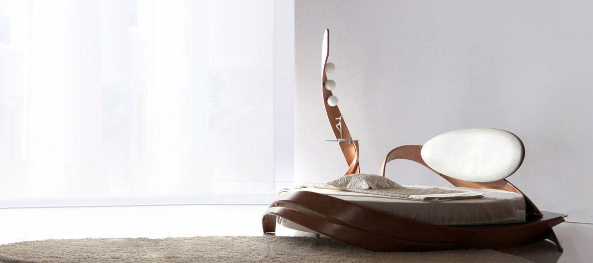 Дизайнерская круглая кровать из дерева