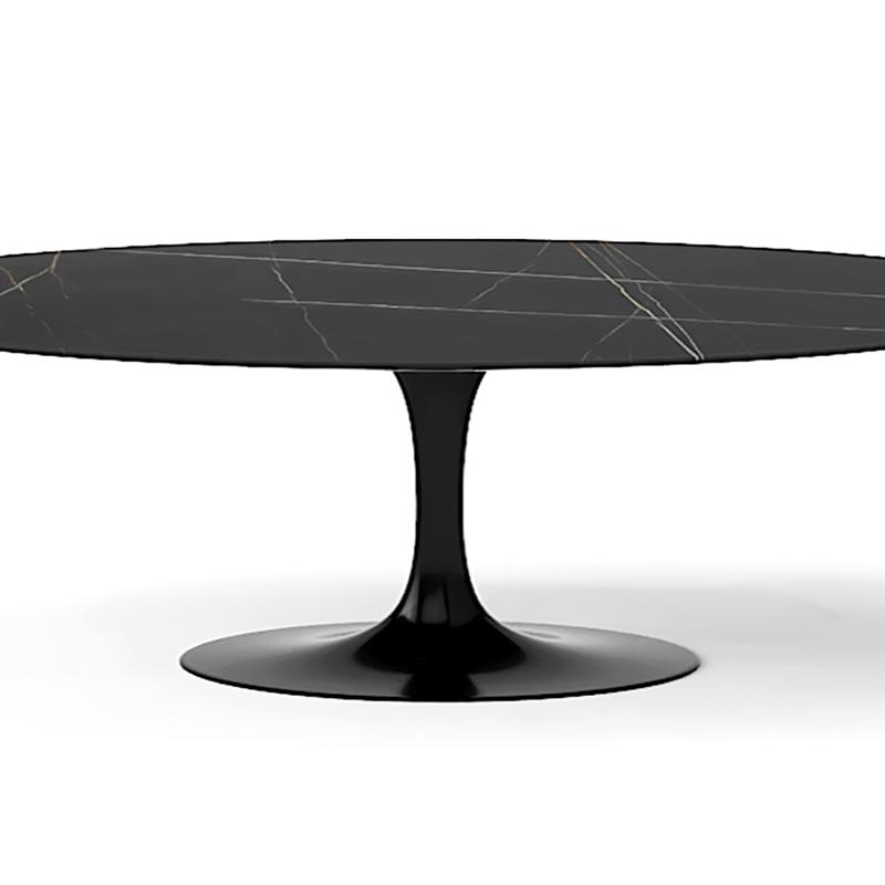 Круглый обеденный стол Tulip/Тулип на одной ножке для кухни с мраморной столешницей