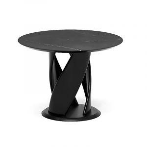 Большой обеденный стол из керамогранита и натурального дерева для кухни
