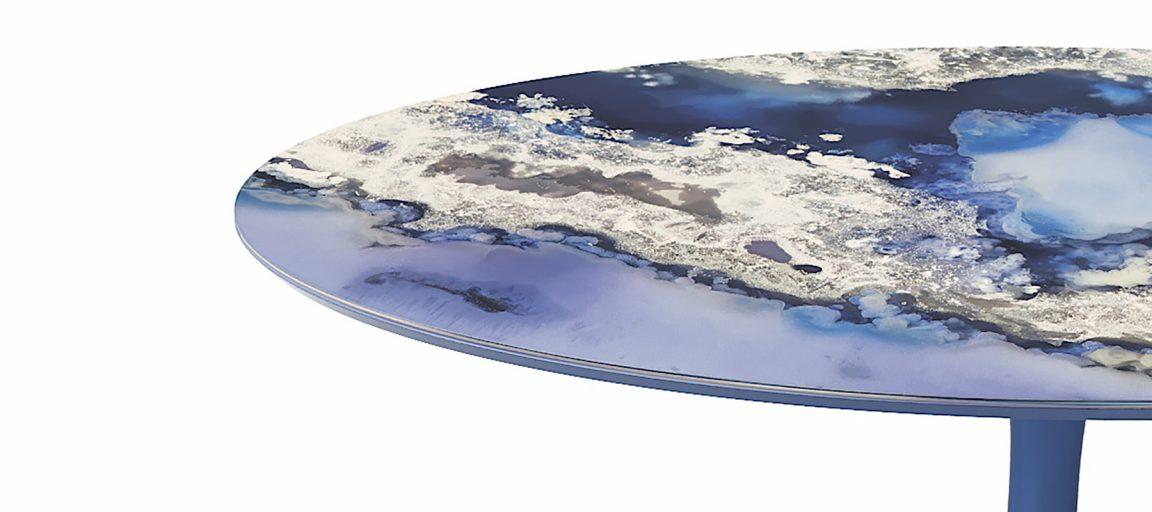 Дорогой стол из синего мрамора
