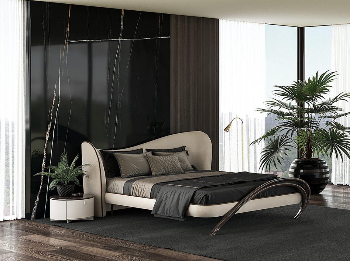 Большая кровать в стильной спальне