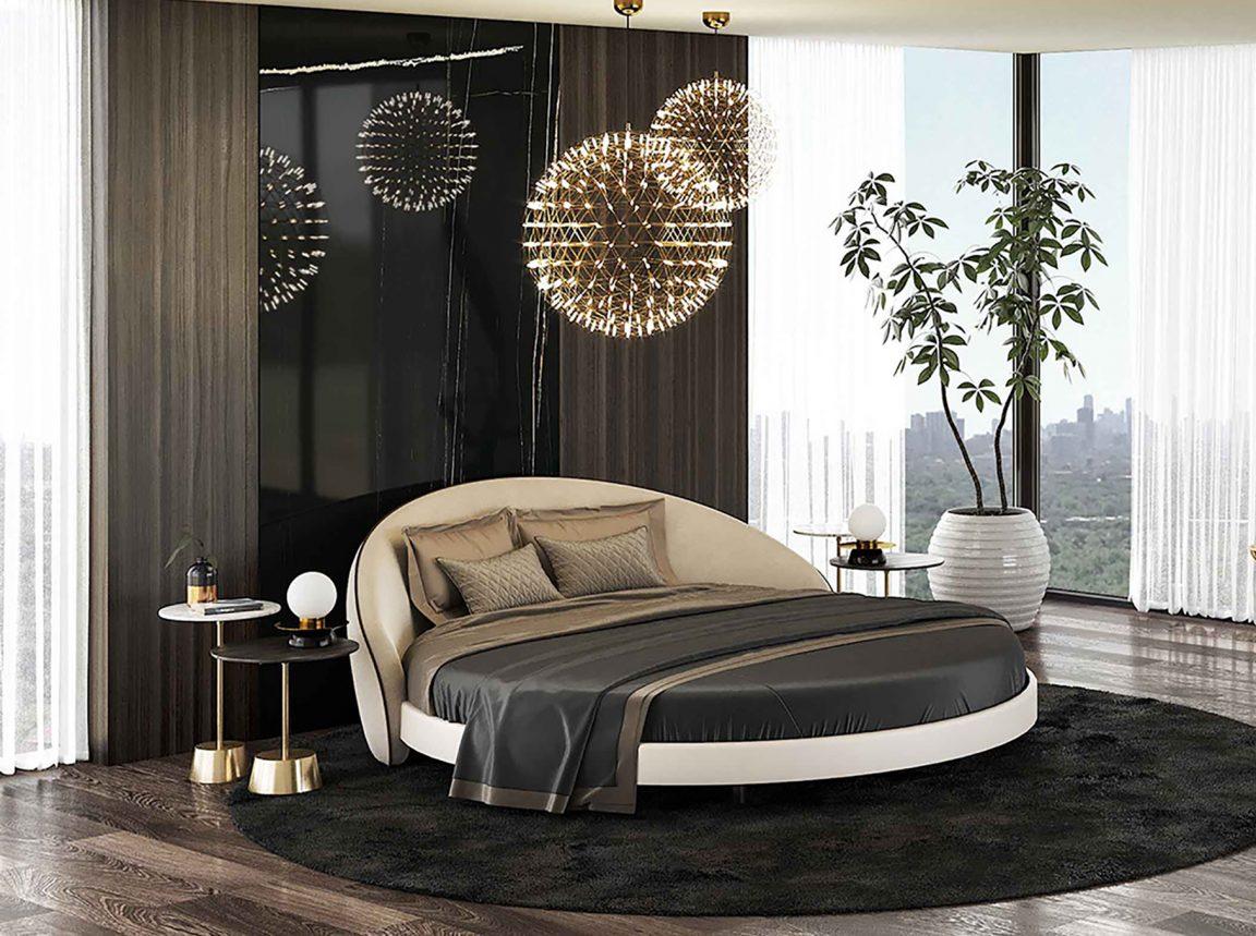 Большая удобная кровать круглая