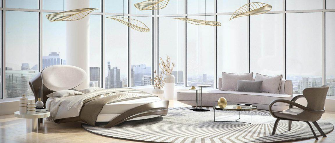 Элегантная кровать в светлую спальню