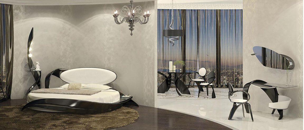 Роскошная кровать в классической спальне