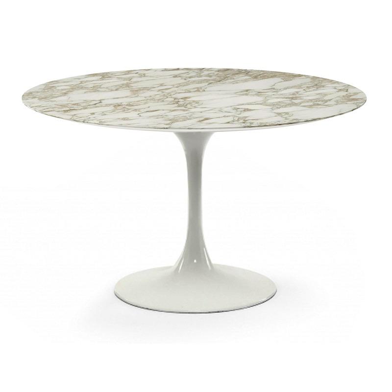Мраморный обеденный стол на одной ножке для кухни белого цвета