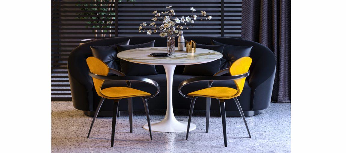 Белый круглый стол для гостиной