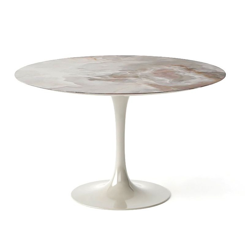 Белый обеденный стол из мрамора на одной ножке для гостинной