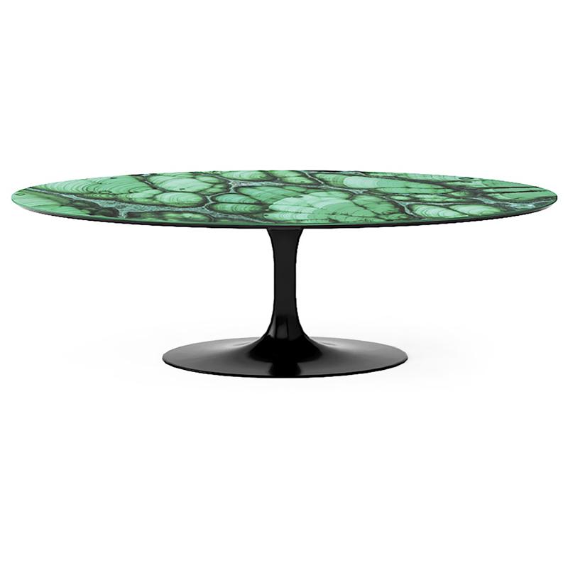 Дорогой овальный обеденный стол из мрамора зеленых оттенков
