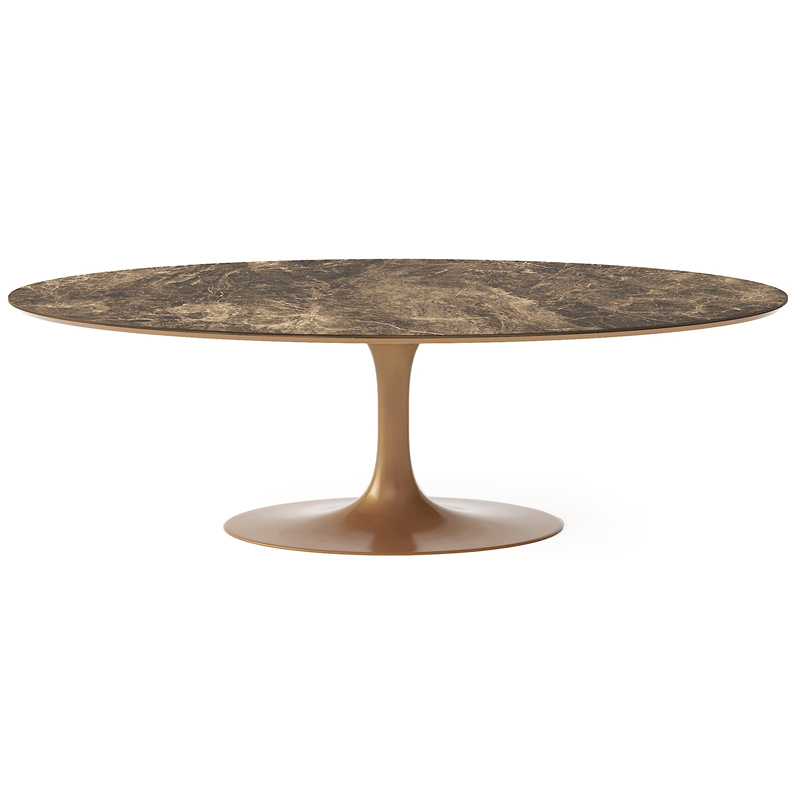 Дорогой роскошный дизайнерский овальный стол на одной ножке для кухни