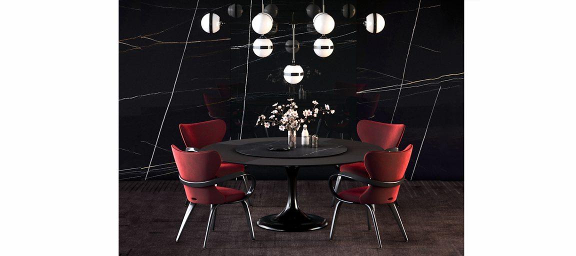 Универсальный черный стол круглый