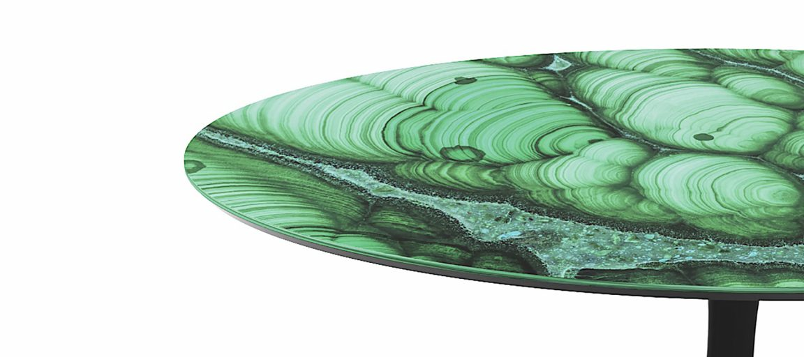 Дизайнерский стол из зеленого мрамора