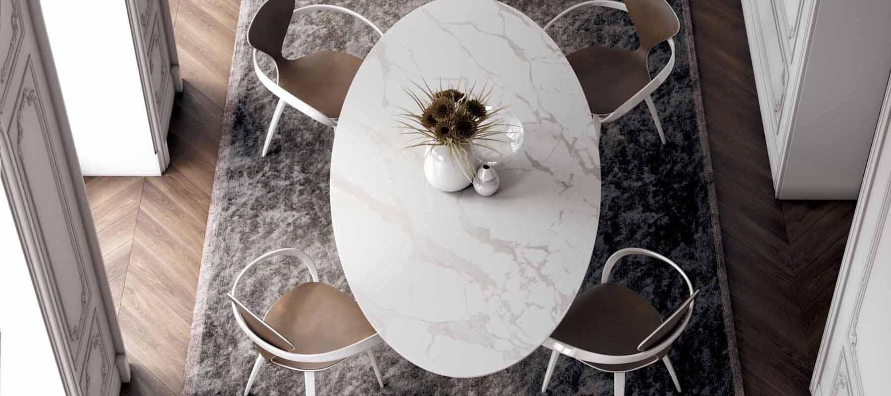 овальный стол из мрамора