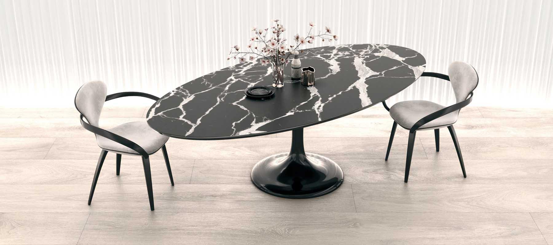 Овальный стол на одной ножке мрамор черный