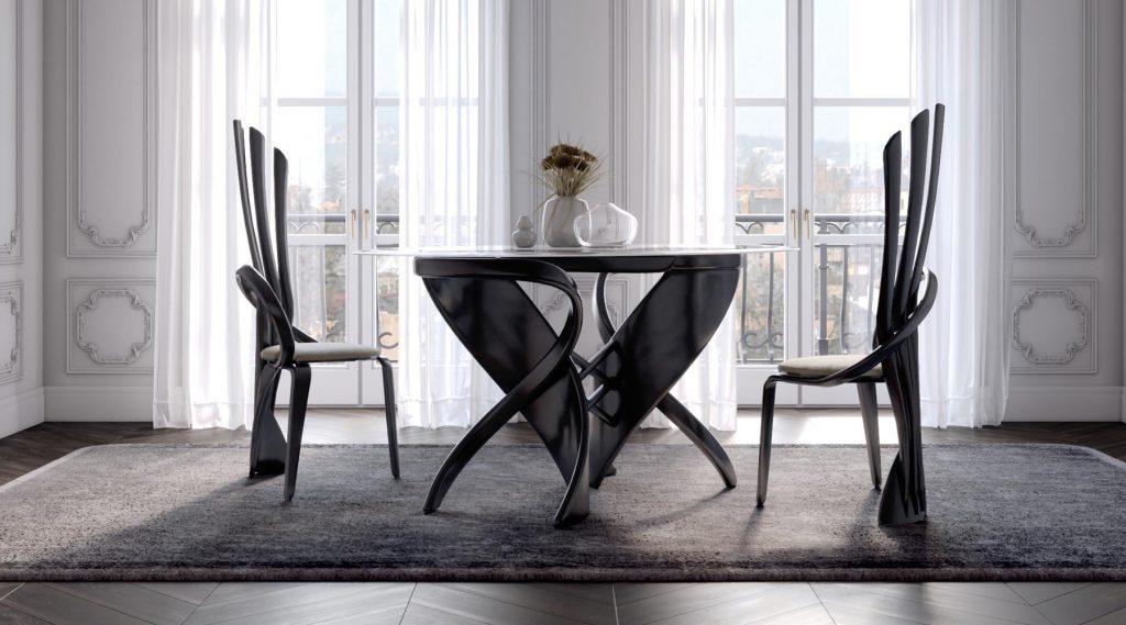 Прозрачный стол необычного дизайна