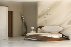 Круглая кровать в светялых тонах