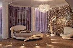 Сиреневая спалья с круглой кроватью в стиле модерн